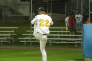 Langley Blaze pitcher warming up for the coming game; Photo, Mona Mattei