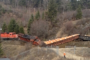 Another view of Tuesday's (April 3) train derailment.