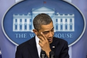 Obama cries in his comments on the Connecticut School Shooting. (Image: Carolyn Kaster/AP)
