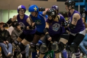 Intense and exciting kept fans jumping at the West Kootenay Roller Derby  season opener. — Photo courtesy Nick Diamond