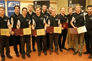 Selkirk College Saints players who were recognized for outstanding achievement in the classroom by maintaining a 3.0 grade point average over the course of the 2014-2015 season included: (L-R) Thomas Hardy, Stefan Gonzales, James Prigione, Tanner Lenting, Ryan Procyshyn, Darnell Dyck, Steven Glass, Logan Proulx, Mitch Rosko, Mason Spear, Tylor Branzsenand Steven Pantazopoulos. — Bob Hall photo