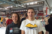 Kelsey Andrusak and Samuel Matthew competed against the top swimmers in Canada at the Age Group Championships in Quebec City. —Submitted photo