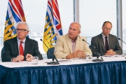 Minister of Energy and Mines, Bill Bennett (center) announces the independent engineering investigation and inquiry into the Mount Polley tailings pond breach Monday. — Photo courtesy BC Government