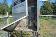Equipment at a weather compound station near Bowser was damaged by vandals. — Photo courtesy BC Wildfire Service