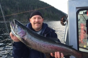 Sheldon Machtans of Calgary with his latest catch from last weekend. — photo courtesy Kootenay Lake Fishing Charters