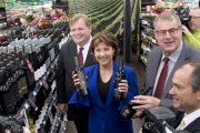 Premier Christy Clark was showing off the BC wine that will soon be available on grocery store shelves.