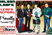 From left, Leaf executive member Randy Horswill, KIJHL VP Bill Sheard and (far right) Leaf president Larry Martel present Robson Cramer with two league awards before Tuesday's Murdoch Playoff Game in Nelson. — Photo courtesy Dave Andrews