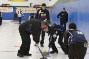 Fred Thomson of Nelson (left) sweeping for the Wenzek rink at the Canadian Direct Insurance Men's Championships held last weekend in Nelson is eager to change the past when the Bob Ursel rink plays in the Page Playoff Final Sunday. — Bruce Fuhr, The Nelson Daily