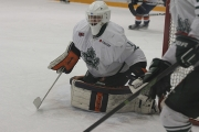 Nelson goalie Patrick Ostermann was called into to replace starter Josh Williams Tuesday night in Fruitvale during Hawks 7-5 victory. — The Nelson Daily