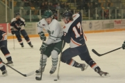 Leaf winger Troy Petrich knifes his way past Beaver Valley defenceman Archie McKinnon during the third period of Friday's KIJHL contest at the NDCC Arena. — Bruce Fuhr, The Nelson Daily