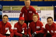 The John Morris rink, from left, Morris, Jim Cotter, Rick Sawatsky, Tyrell Griffith and coach Pat Ryan (back) made it look easy en route to the Brier in Kamloops. — Photo courtesy Curl BC