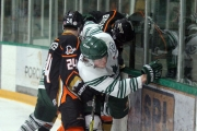 Sawyer Hunt (white jersey) scored his second OT marker of the series to lead Nelson to a 1-0 victory in Game four of the KIJHL Murdoch Divison Semi Final.