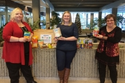 Students in Selkirk College's School of Health & Human Services will be holding a food drive at the Saints game on January 8 at the Castlegar Recreation Complex. Hockey fans are asked to bring at least one item to donate to the service that helps ensure all students have the energy to pursue their studies. Involved in food drive are Robin Legere (Selkirk College Students' Union representative), Courtney Rogers (CCSW student) and Jane Green (instructor in the CCSW Program). — Submitted photo