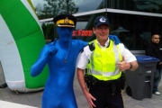 Supt. George Beattie and blue man at Central City Plaza.
