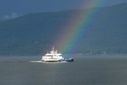 The Balfour Ferry was riding a rainbow recently during its return run back to Balfour. — Photos courtesy Rudy Benno