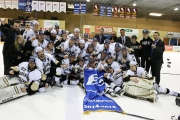 The Selkirk Saints celebrated the schools third consecutive BCIHL Championship with the traditional team photo at center ice after the game. — Photo courtesy Selkirk College Twitter