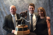 Dyden Hunt, with father Jeff and mother Carla, pose for a photo after the Nelson Minor Hockey grad won the WHL Four Broncos Memorial Trophy as the league's player of the year. — Photo courtesy Facebook