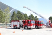 Nelson Fire Crews, seen here during a recent mock disaster exercise, were busy responding to a pair of fires Wednesday evening and Thursday morning. — The Nelsonn Daily photo