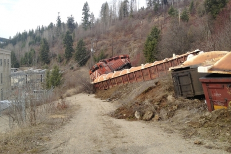 The fourth locomotive and a concentrate car ended up off the track during a train derailement Tuesday near Corra Linn.