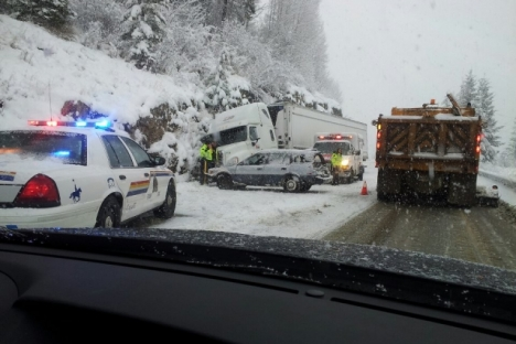 A passing motorist snapped this camera phone photo of Monday's accident near Bonnington. — Submitted photo