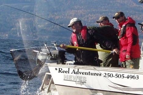 Kerry Reed and the Dimestore Fishermen boys enjoyed great scenery on Kootenay Lake during filming in fall of 2011. — photo courtesy Reel Adventures