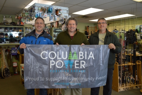 Pictured, L-R, John Jenner of Columbia Power, symposium organizer and West Kootenay Fly Fishing Club president, Rod Zavaduk and club vice-president, Steve Sandesky. — Submitted photo