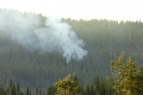 Smoke is seen from a plane crash Sunday in the mountains just off Highway 97C.  Canadian Press photo