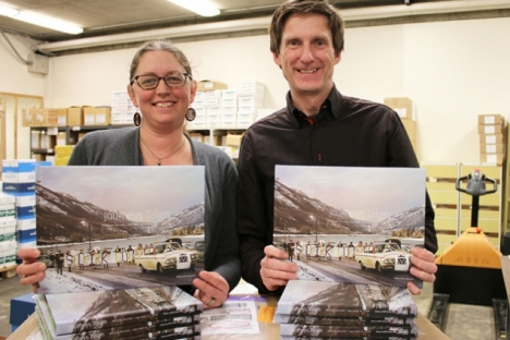 Journeys Taken: Selkirk College - The First 50 Years is now available for purchase.The commemorative coffee table book's co-authors Takaia Larsen (left) and Bob Hall (right) opened the first boxes hot off the press last week at the Castlegar Campus loading dock.