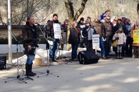 NDTA president Tom Newell, speaking at a March rally outside City Hall, said recent layoffs are dramatically worse and there are not any fewer students. — The Nelson Daily file photo